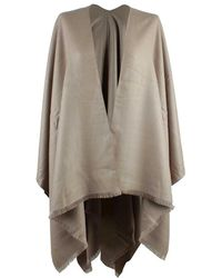 Daniel - Luxe Taupe Wool & Silk Mix Cape - Lyst