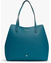 Lulu Guinness Ivy Emerald Leather Tote Bag - Blue