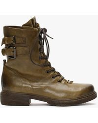 Manas Brown Leather Lace Up Ankle Boots