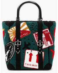 Lulu Guinness Travel Stamps Green Bouclé Bibi Tote Bag