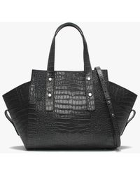 Daniel Moller Gray Leather Moc Croc Structured Tote Bag