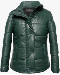 Oakwood Dolly Green Leather Padded Bomber Jacket