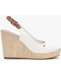 Tommy Hilfiger Iconic Elena White Sling Back Wedge Sandals
