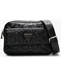 Guess Astrid Black Quilted Logo Cross-body Bag