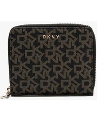 DKNY Small Bryant Ebony & Black Logo Zip Around Wallet