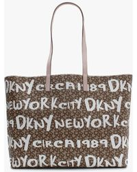 DKNY Large Brayden Beige & Pink Reversible Logo Tote Bag - Natural