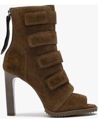 DKNY Blake Latte Suede Peep Toe Ankle Boots - Brown