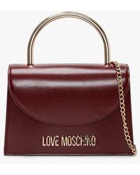 Love Moschino Top Handle Burgundy Satchel Bag - Multicolour