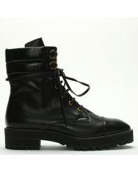 Stuart Weitzman - Lexy Black Leather Biker Boots - Lyst