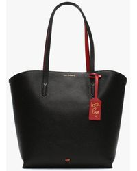 Lulu Guinness Agnes Black & Classic Red Grainy Leather Tote Bag