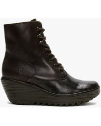Fly London Ygot Dark Brown Leather Wedge Ankle Boots