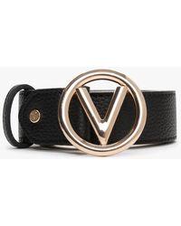 Valentino By Mario Valentino Round Buckle Black Belt