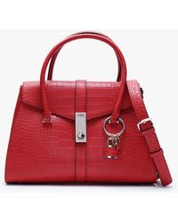 Guess Asher Red Moc Croc Satchel Bag