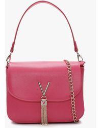 Valentino By Mario Valentino Divina Large Fuchsia Pebbled Shoulder Bag - Multicolour