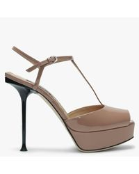 Sergio Rossi Milano 90 Nude Patent Leather Platform Sandals - Natural