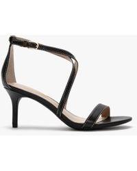 Lauren by Ralph Lauren Leaton Black Leather Cross Strap Sandals