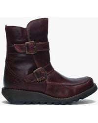 Fly London - Sann Purple Leather Double Buckle Low Wedge Ankle Boots - Lyst
