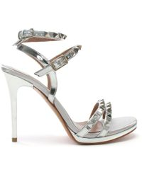 Albano - Newell Silver Metallic Leather Studded Stiletto Sandals - Lyst