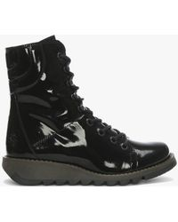 Fly London Same Black Patent Leather Low Wedge Lace Up Ankle Boots