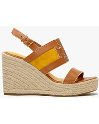 Tory Burch Ines Tan Goldfinch Leather Wedge Espadrille Sandals - Brown