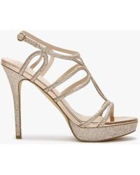 Daniel Ambie Gold Glitter Cage Evening Sandals - Metallic