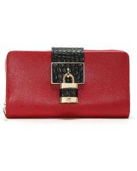 Class Roberto Cavalli | Celebrity Lock Red Leather Zip Around Wallet | Lyst