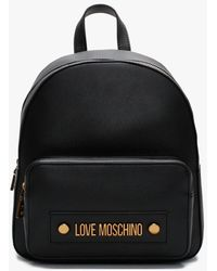 Love Moschino Stud Logo Black Backpack