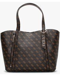 Guess Naya Trap Brown Logo Tote Bag