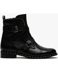 Daniel Sendi Black Pebbled Leather Biker Boots