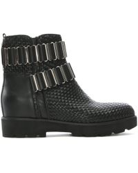 Albano Vail Black Leather Woven Ankle Boots