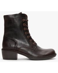 Fly London Milu Dark Brown Leather Ankle Boots