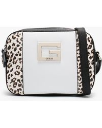 Guess Kamryn Top Zip Leopard Colour Block Cross-body Bag - Multicolour