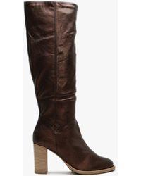 Lamica Bronze Metallic Leather Knee High Boots - Black