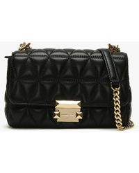 1cb38241f79d35 Michael Kors - Small Sloan Ii Black Quilted Leather Cross-body Bag Colou -  Lyst