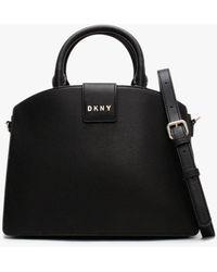 DKNY Clara Black Pebbled Leather Satchel Bag