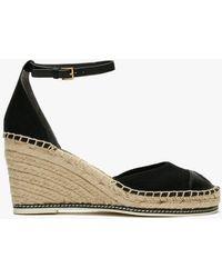 Tory Burch Colour Block 85mm Perfect Black Wedge Espadrille Sandals
