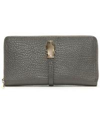 Class Roberto Cavalli Pantera Nera Gray Leather Zip Around Wallet