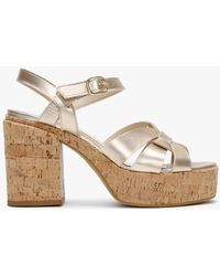 Daniel Joyce Gold Leather Platform Sandals - Metallic