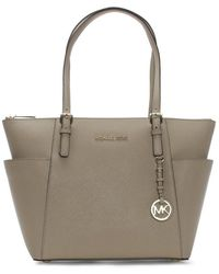 Michael Kors - Jet Set Pocket Truffle Leather Top Zip Tote Bag - Lyst