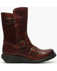 Fly London Selk Brick Leather & Suede Low Wedge Ankle Boots - Multicolour