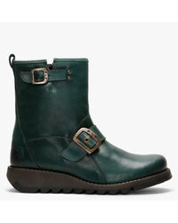 Fly London Sino525fly Leather Ankle Boots - Green