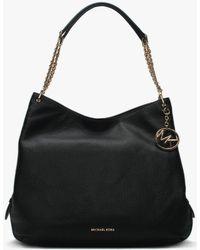 Michael Kors - Large Lillie Black Pebbled Leather Shoulder Tote Bag - Lyst