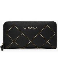 Valentino By Mario Valentino Mandolino Black Studded Zip Around Wallet