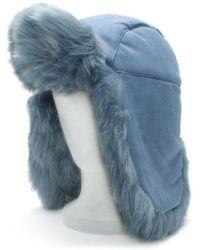 Charlotte Simone - Helmet Head Blue Faux Fur Trapper Hat - Lyst