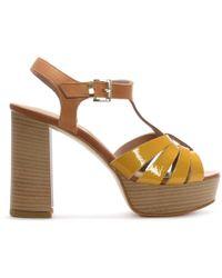Donna Più - Yellow Patent Leather T Bar Platform Sandals - Lyst