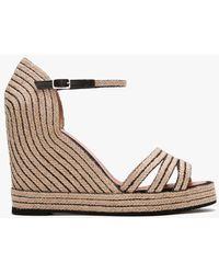 Daniel Callie Black & Beige Jute Trim Wedge Sandals - Natural