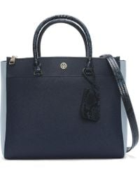 Tory Burch - Robinson Royal Navy & Blue Multi Leather Double Zip Tote Bag - Lyst