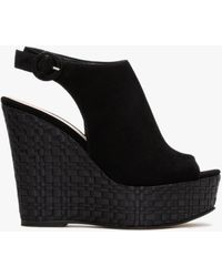 Daniel Marees Black Suede Woven Wedge Sandals