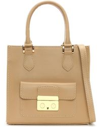 Daniel Muddler Small Beige Leather Structured Tote Bag - Natural
