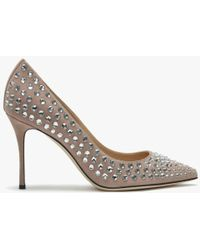 Sergio Rossi Godiva 90 Nude Suede Embellished Court Shoes - Natural